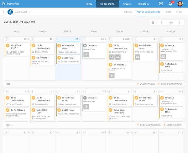 Calendario de entrenamiento individual del deportista
