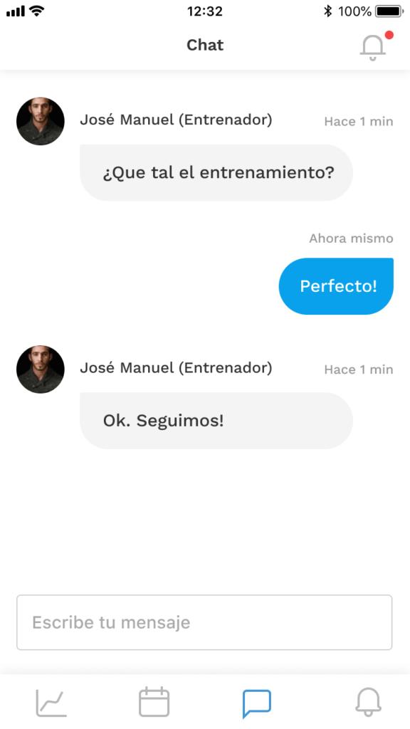 Chat en la app móvil